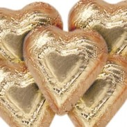 DARK CHOCOLATE BRONZE FOILED HEARTS 30LB CASE
